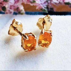 14K solid gold natural orange spessartine earrings